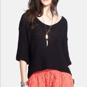 """Free People """"Park Slope"""" Chunky Black 3/4 Sweater"""